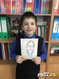 Егор такой портрет мамы нарисовал